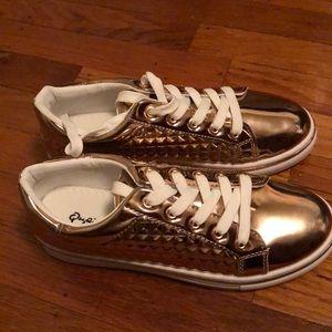 Charlotte Russe Rose Gold Metallic Sneakers